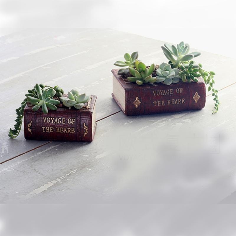Retro Literature Book Pots Vintage Book Flower Pot Planter for Flower Succulent Cacti Herbs Plant Bed Box Case FlowerPot, 10.5*8*5cm