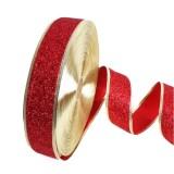 2m Christmas Party Decoration Glitter Powder Christmas Tree Decoration Ribbon (Dark Red)
