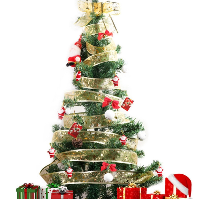 Decorating Christmas Trees With Ribbon: 2m Christmas Party Decoration Glitter Powder Christmas