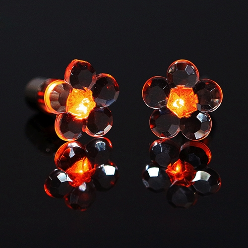 4 Pcs Fashion Plum Blossom Led Earrings Glowing Light Up Earring Stud Orange
