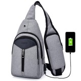 Portable Backpack Casual Outdoor Unisex Shoulder Bags Triangle Design Crossbody Bags Outdoor Sports Riding Shoulder Bag with External USB Charging Interface and Headphone Plug (Grey)