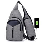 Portable Backpack Casual Outdoor Unisex Shoulder Bags Triangle Design Crossbody Bags Outdoor Sports Riding Shoulder Bag with External USB Charging Interface and Headphone Plug (Dark Grey)