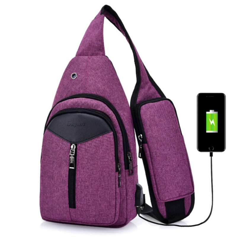 Portable Backpack Casual Outdoor Unisex Shoulder Bags Triangle Design Crossbody Bags Outdoor Sports Riding Shoulder Bag with External USB Charging Interface and Headphone Plug (Purple)