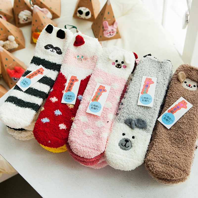 5 Boxes Winter Coral Velvet Thick Warm Cartoon Adult Socks, Stereoscopic Animal Pattern Christmas Boxed Gift Socks
