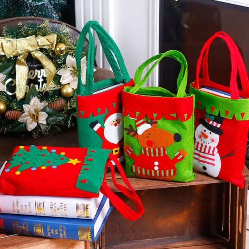 Christmas Dinner Table Decoration Candy Bag, Thickened Non-woven Fabric Kids Gifts Bags