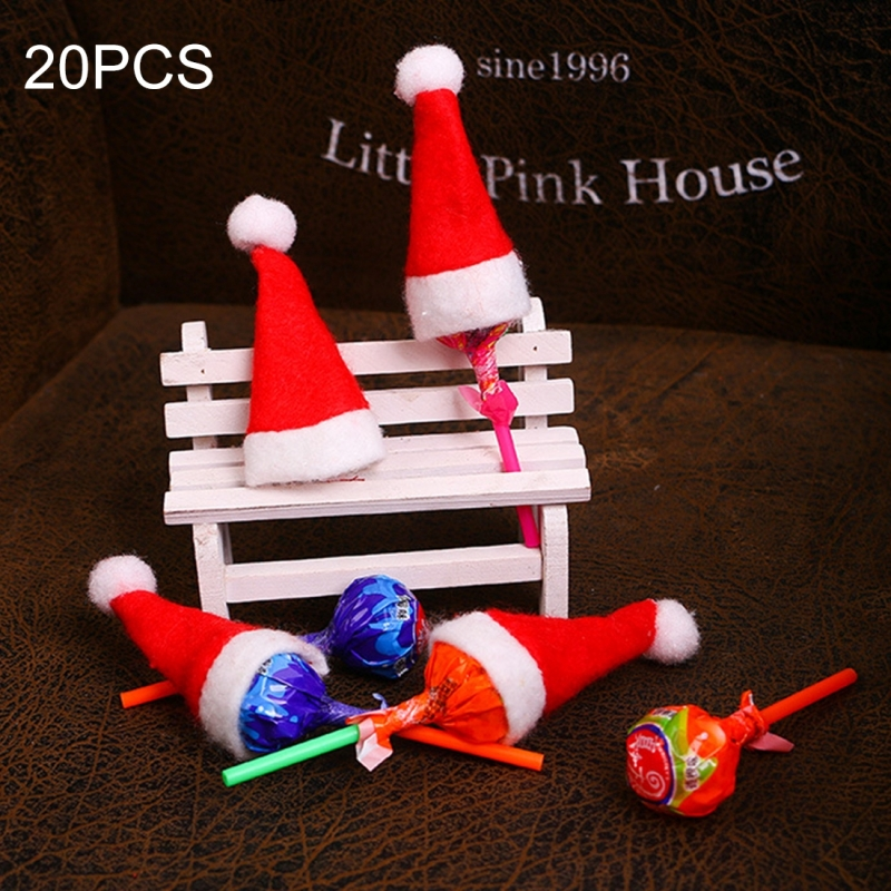 20 PCS Christmas Dinner Table Decoration Candy Lollipop Hat, Non-woven Fabric Mini Christmas Hat
