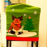 Christmas Dinner Table Decoration, New Style Christmas Ski Moose Pattern Chair Cover