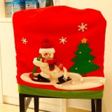 Christmas Dinner Table Decoration, New Style Christmas Ski Snowman Pattern Chair Cover