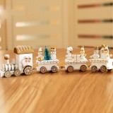 Christmas Dinner Table Decoration, Wooden Trains Children Kindergarten Christmas Decoration Ornaments Gifts (White)