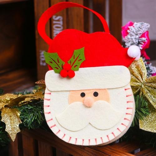 Creative Cartoon New Style Christmas Decoration Santa Gift Bag, Santa Pattern Non-woven Fabric Apple Gifts Handbags