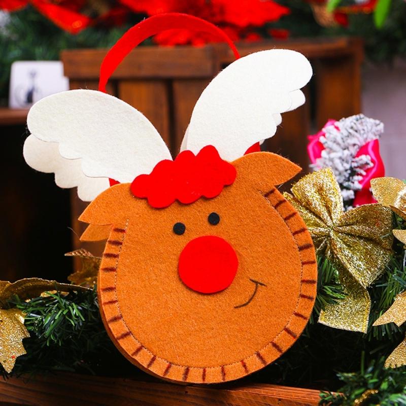 Creative Cartoon New Style Christmas Decoration Santa Gift Bag, Moose Pattern Non-woven Fabric Apple Gifts Handbags