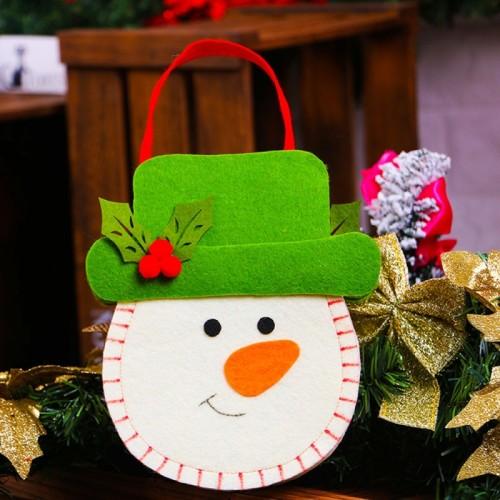 Creative Cartoon New Style Christmas Decoration Santa Gift Bag, Snowman Pattern Non-woven Fabric Apple Gifts Handbags