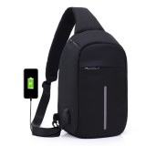 Multi-Function Portable Casual Chest Bag Outdoor Sports Anti-theft Shoulder Bag with External USB Charging Interface for Men / Women (Black)