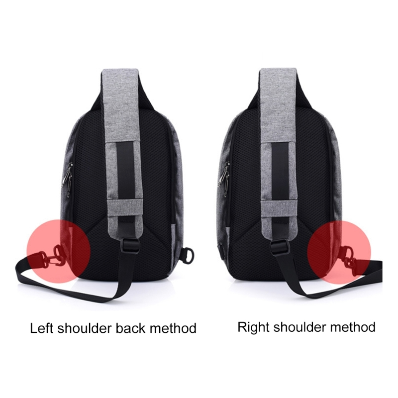 Multi-Function Portable Casual Chest Bag Outdoor Sports Anti-theft Shoulder Bag with External USB Charging Interface for Men / Women (Grey)