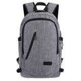 Multi-Function Large Capacity Travel Casual Backpack Laptop Computer Bag with External USB Charging Interface & Headphone Jack & Anti-theft Lock for Men (Grey)