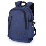 Multi-Function Large Capacity Travel Casual Backpack Laptop Computer Bag with External USB Charging Interface & Headphone Jack & Anti-theft Lock for Men (Blue)