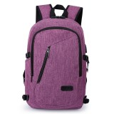 Multi-Function Large Capacity Travel Casual Backpack Laptop Computer Bag with External USB Charging Interface & Headphone Jack & Anti-theft Lock for Men (Purple)