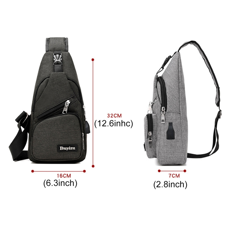 Dxyizu Multi-Function Portable Casual Canvas Chest Bag Outdoor Sports Shoulder Bag Waist Bag with External USB Charging Interface for Men / Women / Student (Black)