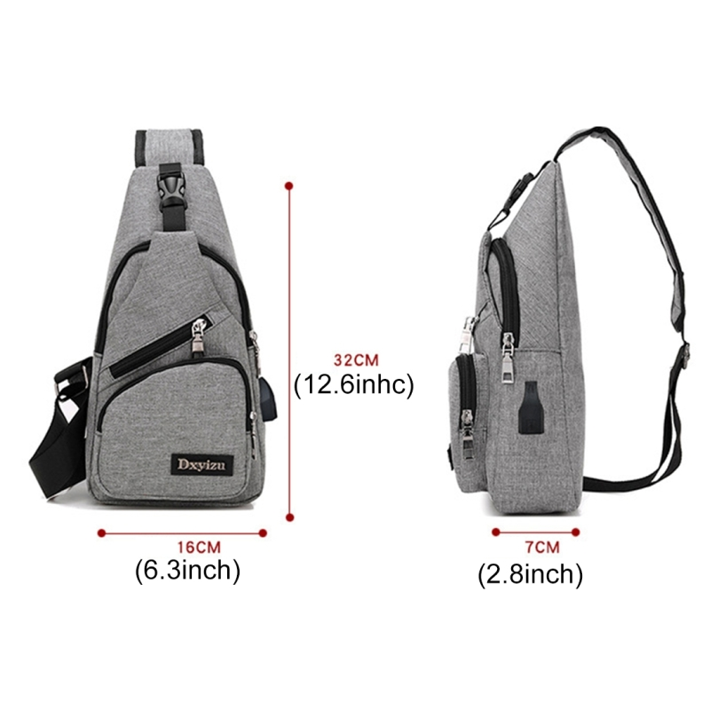Dxyizu Multi-Function Portable Casual Canvas Chest Bag Outdoor Sports Shoulder Bag Waist Bag with External USB Charging Interface for Men / Women / Student (Grey)