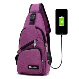 Dxyizu Multi-Function Portable Casual Canvas Chest Bag Outdoor Sports Shoulder Bag Waist Bag with External USB Charging Interface for Men / Women / Student (Purple)