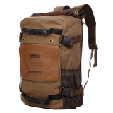 KAUKKO Outdoor Sport Climbing Canvas Large Capacity Backpack Camping Hiking Trekking Rucksack Versatile Travel Crossbody Bag with for Men (Dark Khaki)