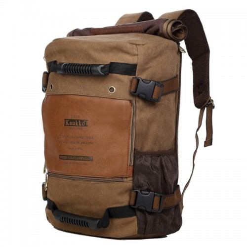 KAUKKO Outdoor Sport Climbing Canvas Large Capacity Backpack Camping Hiking Trekking Rucksack Versatile Travel Crossbody Bag with for Men (Dark Khaki)