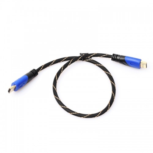 0.5m HDMI 1.4 Version 1080P Woven Net Line Blue Black Head HDMI Male to HDMI Male Audio Video Connector Adapter Cable