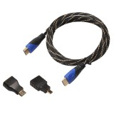 1.8m HDMI 1.4 Version 1080P Woven Net Line Blue Black Head HDMI Male to HDMI Male Audio Video Connector Adapter Cable with Mini HDMI & Micro HDMI Adapter Set