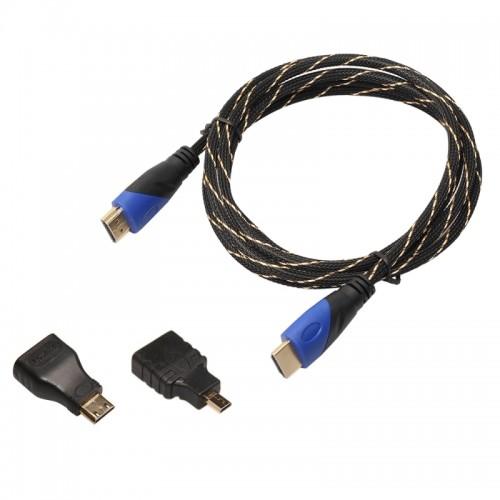 1.8m HDMI 1.4 Version 1080P Woven Net Line Blue Black Head HDMI Male to HDMI Male Audio Video Connector Adapter Cable with Mini HDMI & Micro HDMI Adapter Set