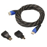 5m HDMI 1.4 Version 1080P Woven Net Line Blue Black Head HDMI Male to HDMI Male Audio Video Connector Adapter Cable with Mini HDMI & Micro HDMI Adapter Set