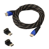3m HDMI 1.4 Version 1080P Woven Net Line Blue Black Head HDMI Male to HDMI Male Audio Video Connector Adapter Cable with 2 Bending HDMI Adapter Set