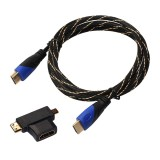 1.8m HDMI 1.4 Version 1080P Woven Net Line Blue Black Head HDMI Male to HDMI Male Audio Video Connector Cable with Mini HDMI & Micro HDMI & HDMI 3 in 1 Adapter Set