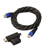 3m HDMI 1.4 Version 1080P Woven Net Line Blue Black Head HDMI Male to HDMI Male Audio Video Connector Cable with Mini HDMI & Micro HDMI & HDMI 3 in 1 Adapter Set