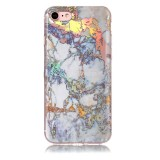 For iPhone 8 & 7 Grey Gold Marble Pattern Soft Protective Back Cover Case