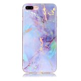 For iPhone 8 Plus & 7 Plus Pink Gold Marble Pattern Soft Protective Back Cover Case