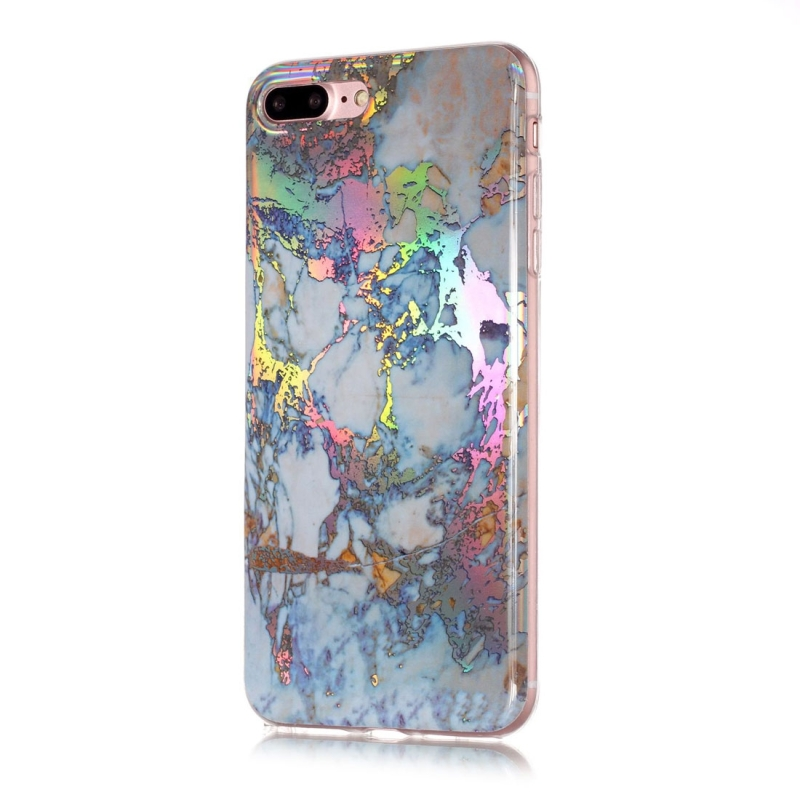 For iPhone 8 Plus & 7 Plus Grey Gold Marble Pattern Soft Protective Back Cover Case