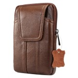 6.2 inch and Below Universal Genuine Leather Men Vertical Style Case Waist Bag with Belt Hole For iPhone, Samsung, Sony, Huawei, Meizu, Lenovo, ASUS, Oneplus, Xiaomi, Cubot, Ulefone, Letv, DOOGEE, Vkworld, and other Smartphones (Coffee)