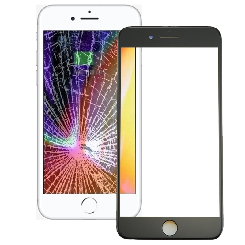 Replacement for iPhone 8 Front Screen Outer Glass Lens with Front LCD Screen Bezel Frame & OCA Optically Clear Adhesive (Black)