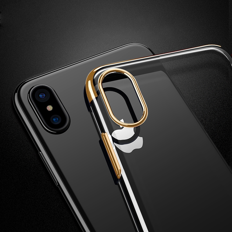 For iPhone X Three Sections Electroplating Side TPU Protective Back Cover Case (Gold)