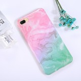 For iPhone 8 Plus & 7 Plus Pink Green Marble Pattern TPU Full Coverage Shockproof Protective Back Cover Case
