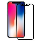 For iPhone X 0.26mm 9H Surface Hardness 3D Explosion-proof Full Screen Carbon Fiber Soft Edges Tempered Glass Screen Film (Black)