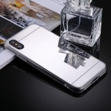 For iPhone X Acrylic + TPU Electroplating Mirror Protective Back Cover Case (Silver)