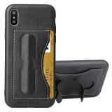 Fierre Shann For iPhone X Full Coverage Protective Leather Case with Holder & Card Slot (Black)