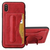 Fierre Shann For iPhone X Full Coverage Protective Leather Case with Holder & Card Slot (Red)