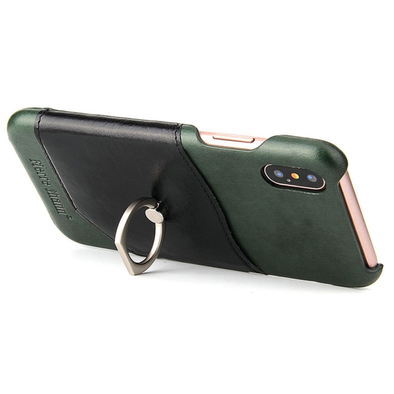 meet d8f2b 3c0a5 Fierre Shann For iPhone X Color Matching Genuine Leather Back Cover Case  With 360 Degree Rotation Holder & Card Slot (Green)