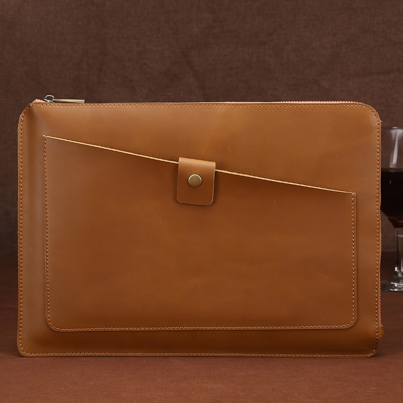 Universal Genuine Leather Business Zipper Laptop Tablet Bag For 12 Inch And Below Macbook