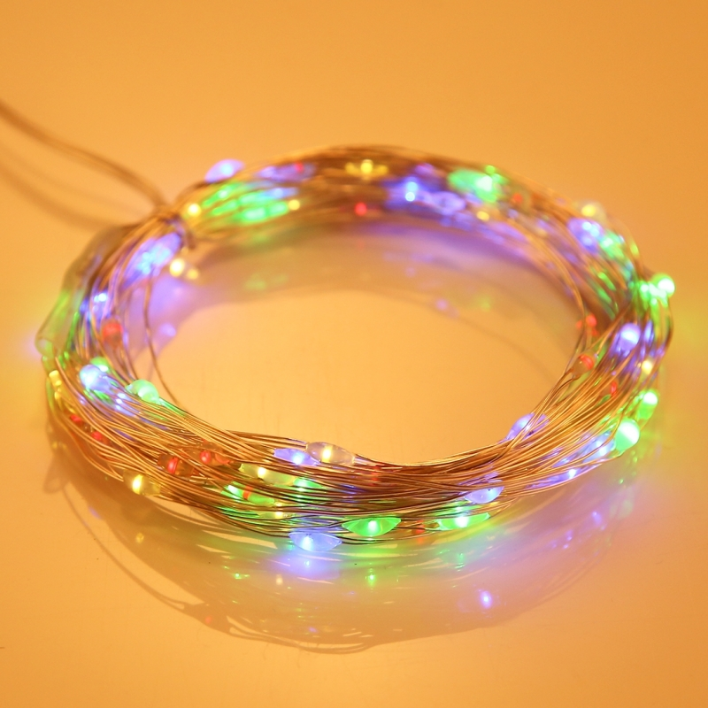 10m 100 LEDs SMD 0603 IP65 Waterproof Solar Panel Silver Wire String Light Fairy Lamp Decorative Light (Colorful Light)