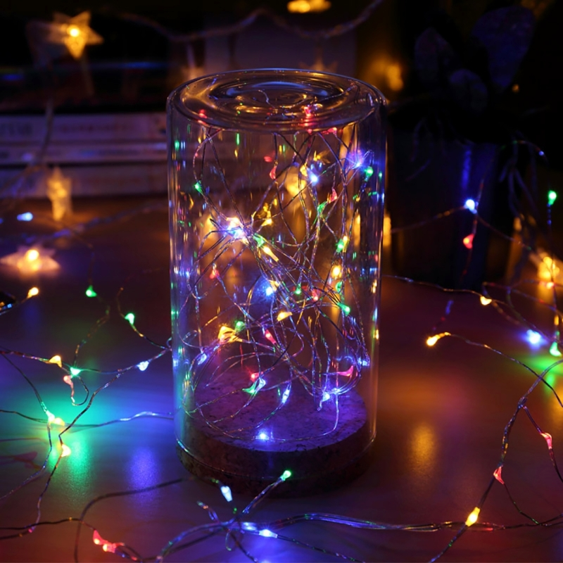 20m 100 LEDs SMD 0603 IP65 Waterproof Solar Panel Silver Wire String Light Fairy Lamp Decorative Light (Colorful Light)