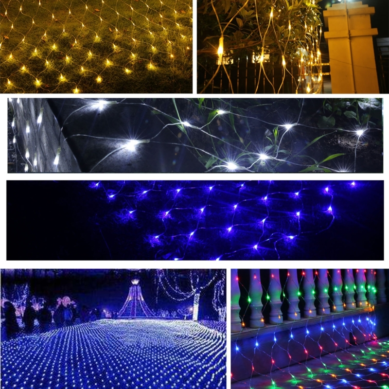 3m (Length) x 2m (Height) 12W 200 LEDs Reticular String Decoration Lights with End Joint & Multi-function Controller, EU Plug, AC 220V (Blue Light)