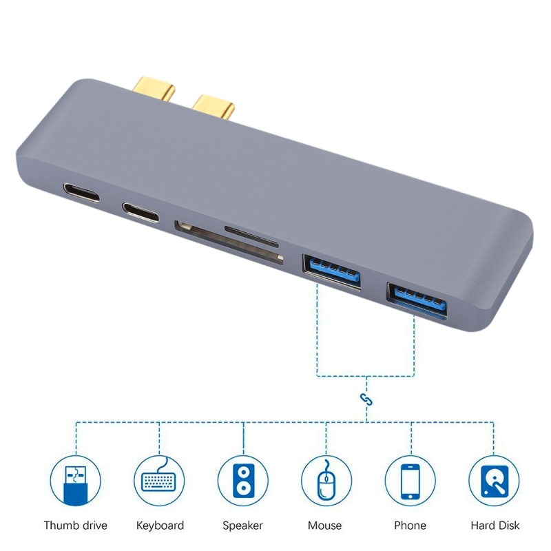 6 in 1 Multi-function Aluminium Alloy 5Gbps Transfer Rate Dual USB-C / Type-C HUB Adapter with 2 USB 3.0 Ports & 2 USB-C / Type-C Ports & SD Card Slot & TF Card Slot for Macbook 2015 / 2016 / 2017 (Grey)